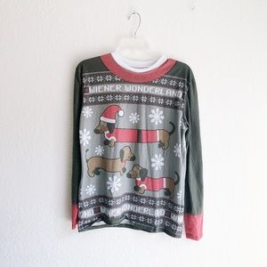 """Tops - Unisex """"Ugly Sweater"""" Wiener Dog Graphic Christmas"""